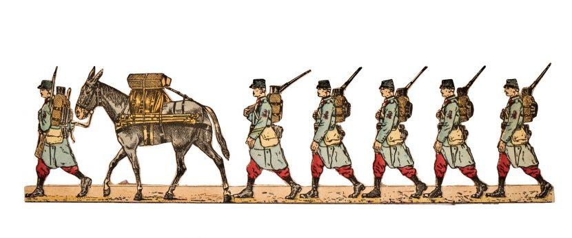 """5412: Fanteria francese, """"Sezioni di mitragliatrici"""" (1914), particolare. Imagerie Pellerin & C.-Epinal n° 200 bis (primi anni '20 del XX secolo)"""