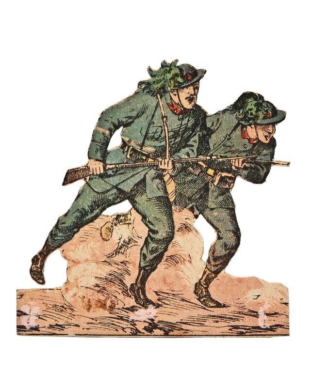 Bersaglieri italiani all'attacco (1915). Marca Stemma d'Italia n° 13